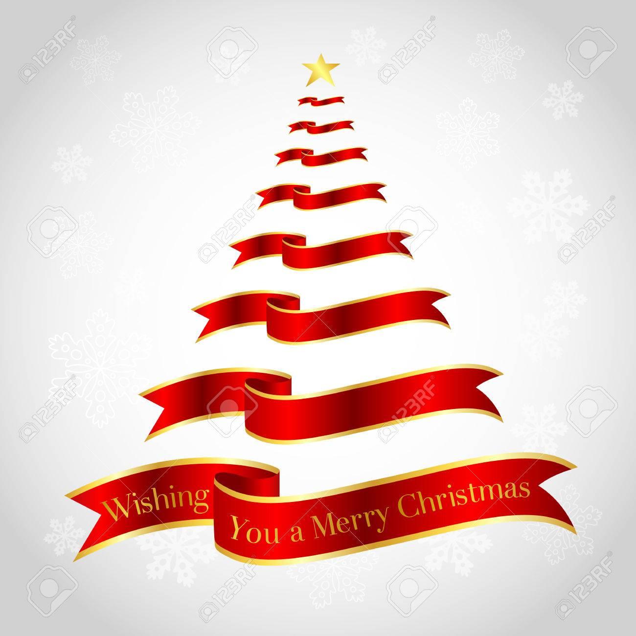 Red Ribbon On Christmas Tree Shape. Illustration. \