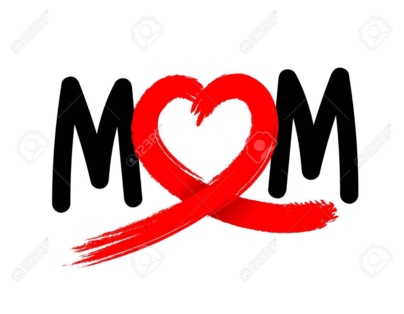 Maman Des Lettres Avec Un Ruban Coeur Abstrait Fait Partir D Un
