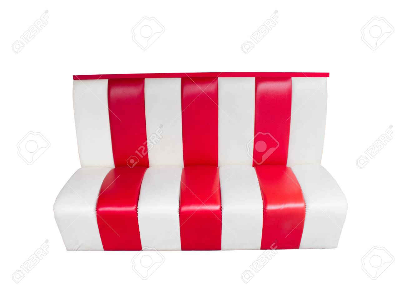 Leather couch sofa. Striped red and white. Isolated on white..