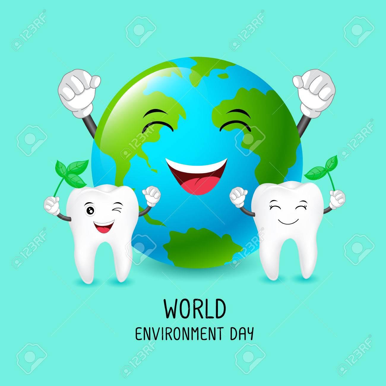 Diente De Dibujos Animados Lindo Con El Personaje De La Tierra Concepto De Día Mundial Del Medio Ambiente Ilustración De Cuidado Dental Aislada