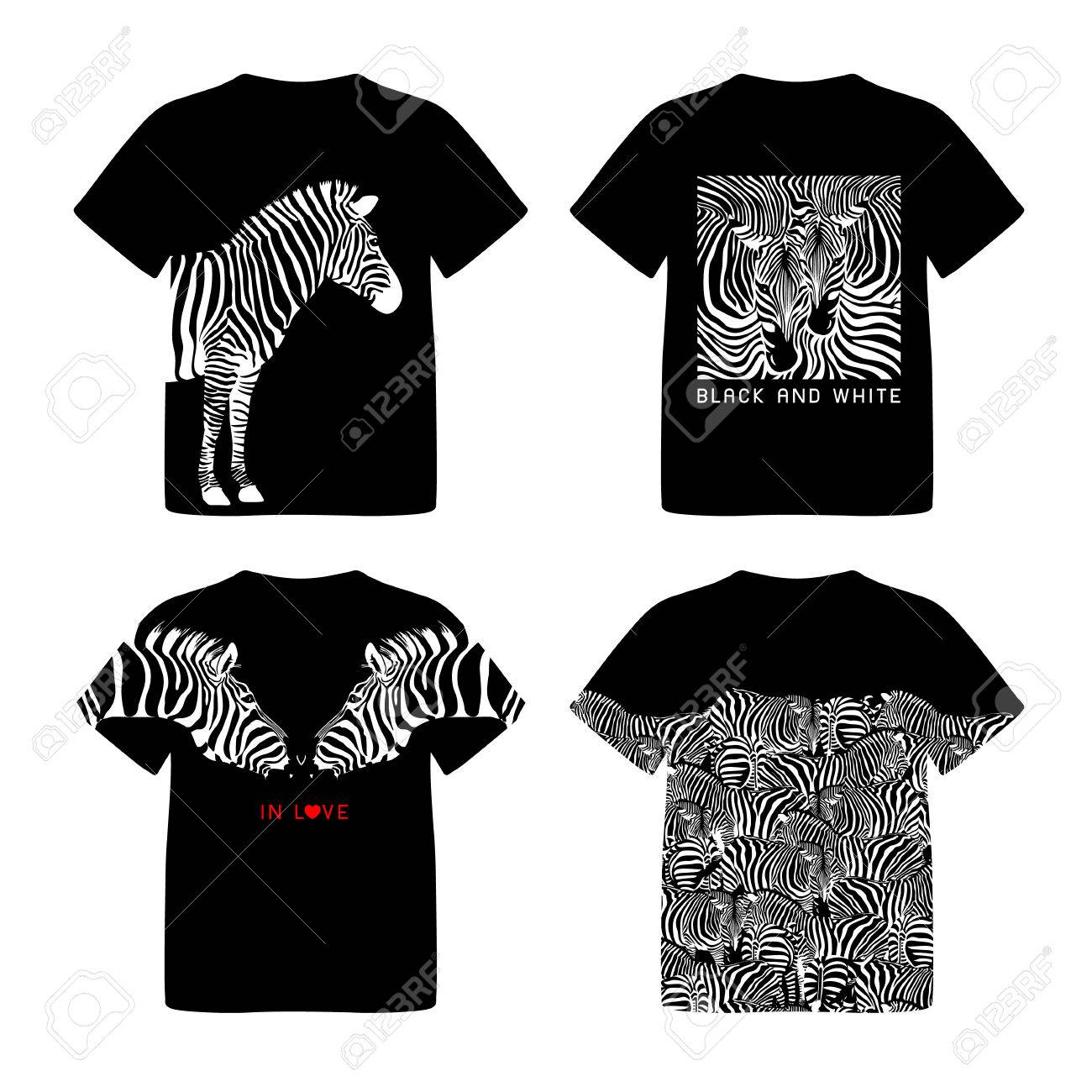 ab1287ed6 T-shirt design with zebra. Wild animal texture. Striped black and white.