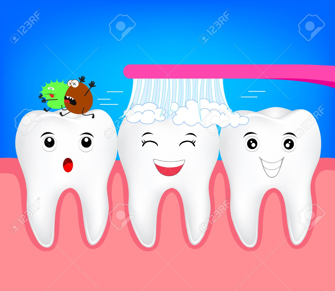 Happy cartoon character tooth with toothbrush. Kill bacteria in the mouth concept. Illustration for dental care. - 83556455