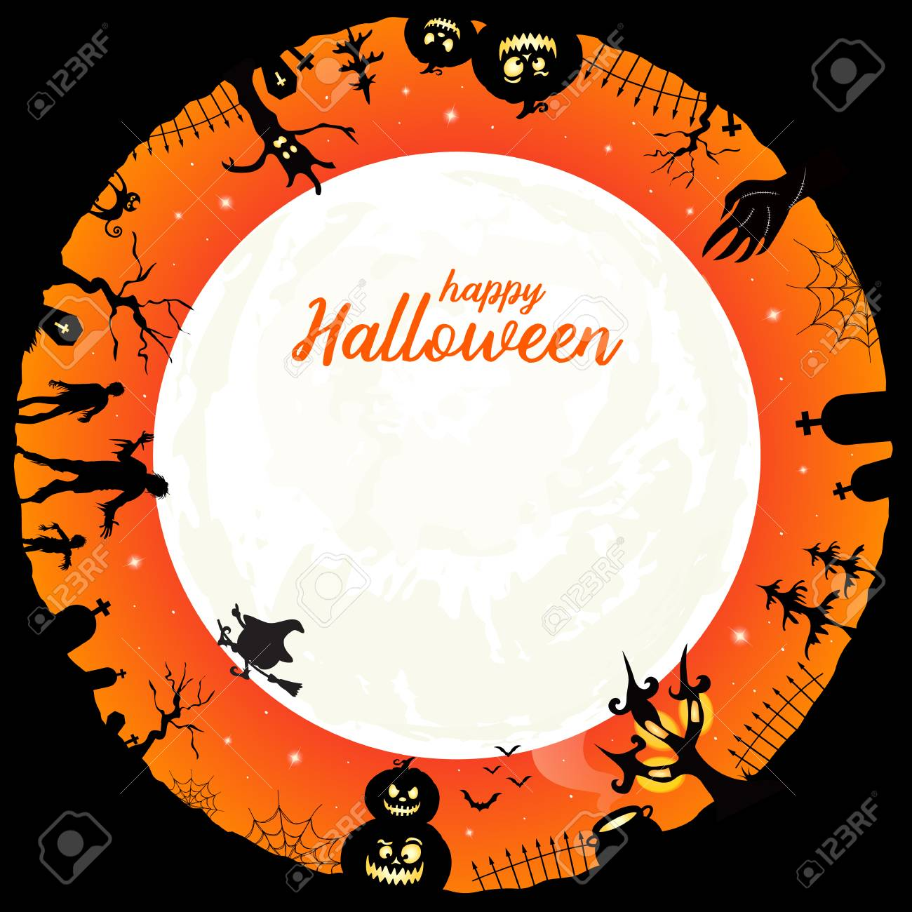 happy halloween message halloween element in circle design