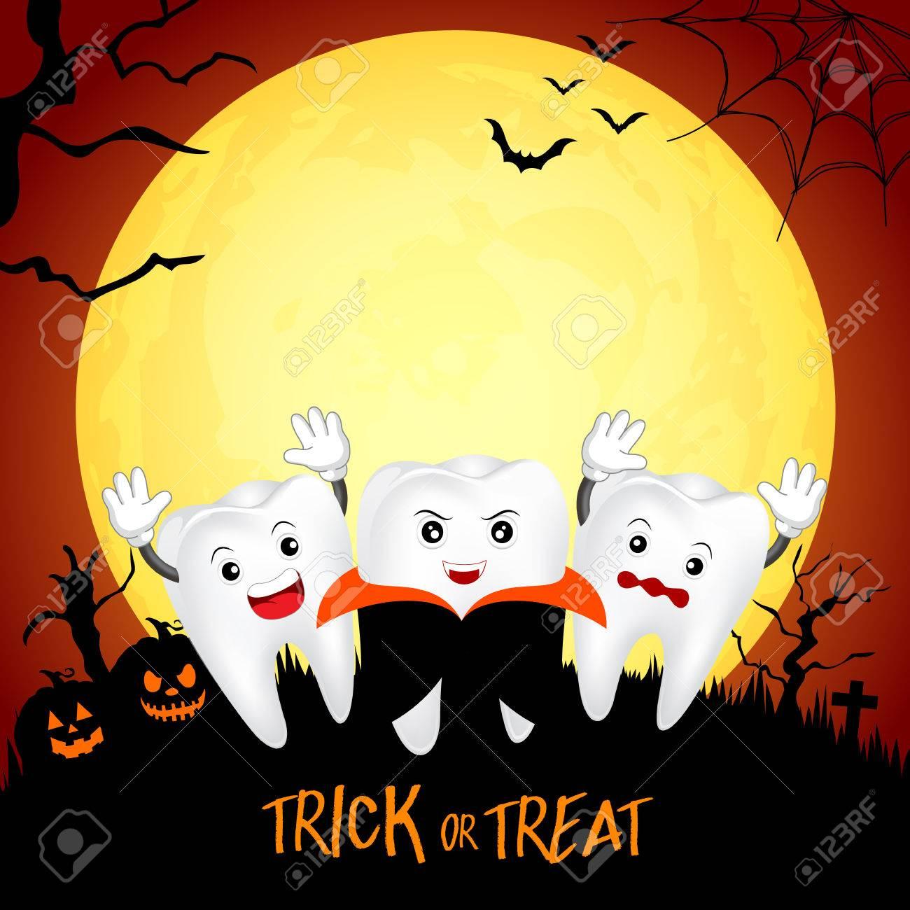 Fuuny かわいいアニメキャラ歯満月の夜幸せなハロウィーン概念の
