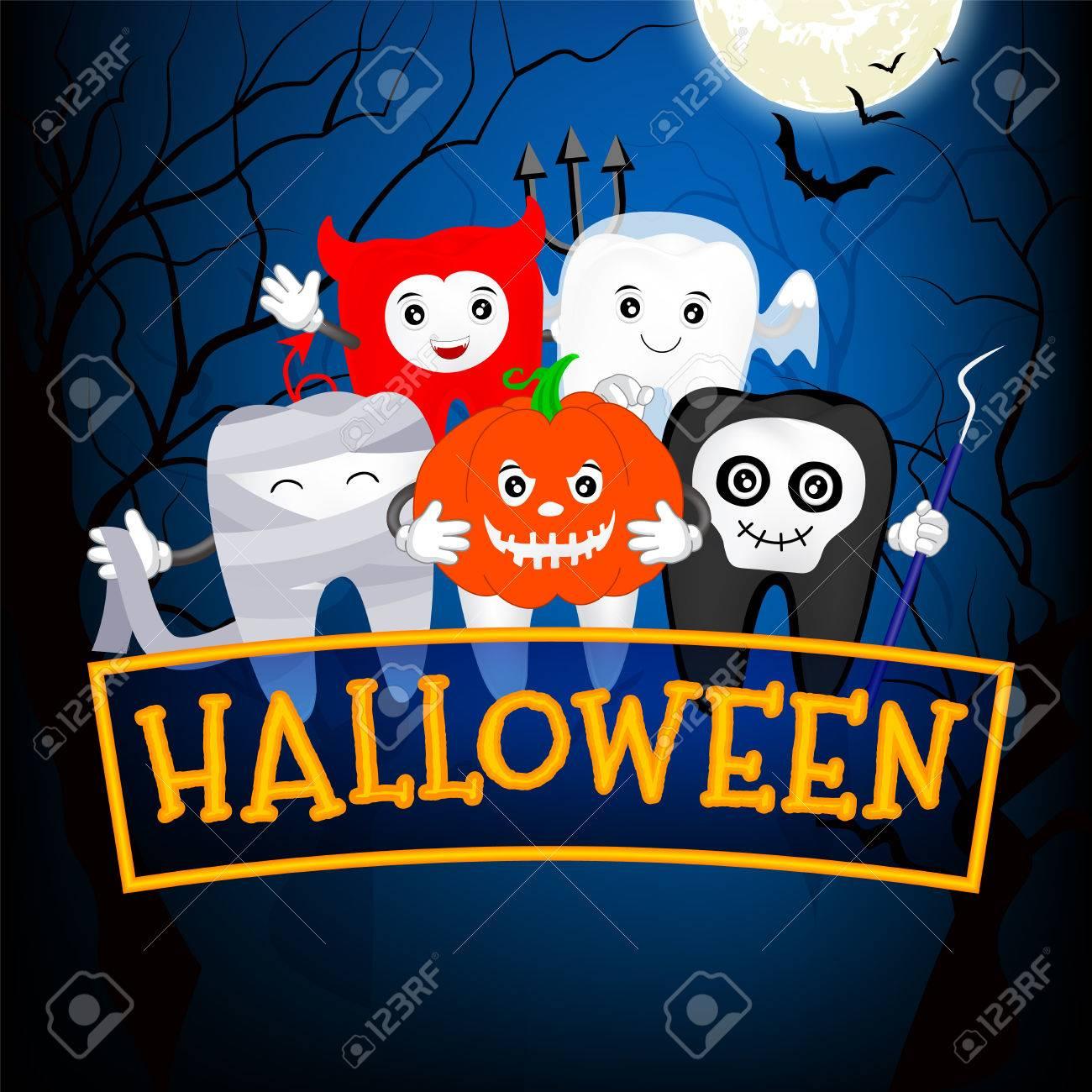 Fuuny かわいいアニメキャラ歯満月の夜幸せなハロウィーンの概念の悪魔