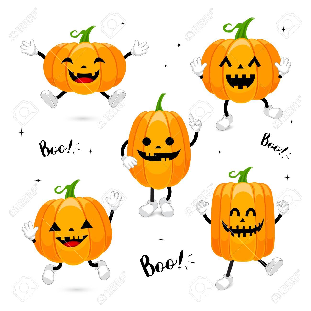 Ensemble De Conception De Personnage De Citrouille Dessin Animé Mignon Concept De Jour De Halloween Heureux Illustration Isolée Sur Fond Blanc