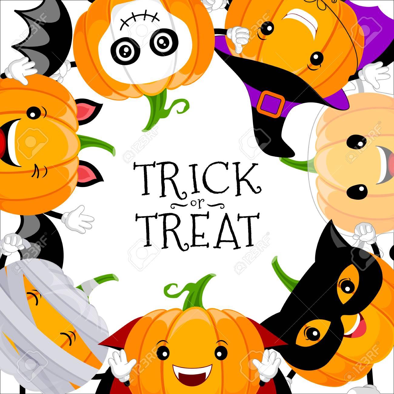 Ensemble De Conception De Personnage De Citrouille Dessin Animé Mignon Concept De Jour Halloween Heureux Avec Dracula Crâne Fantôme Chauve Souris