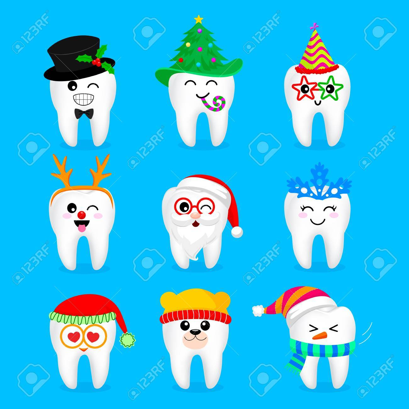 Set of Chrismas and New year tooth characters. Emoticons with different facial expressions. Funny dental care concept. Illustration isolated on blue background. - 88270721