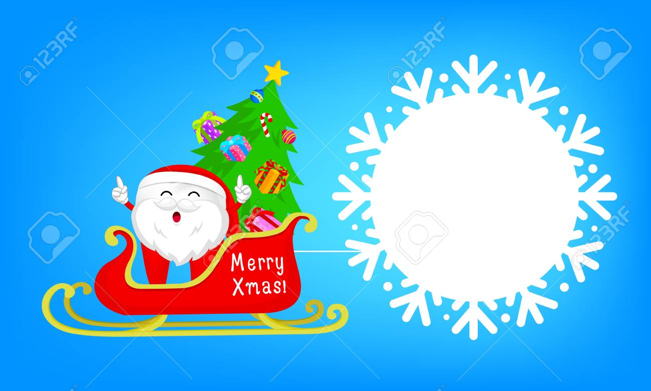 Cute Cartoon Tooth Characters Santa Claus With Sleigh. Circle ...