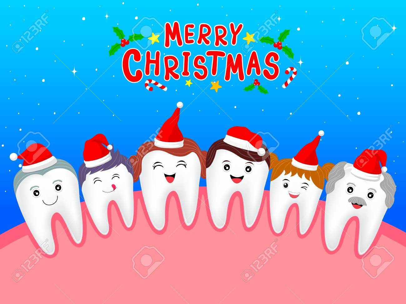 Happy Cute Cartoon Tooth Family Characters With Santa Hat Dental Care Concept Merry Christmas