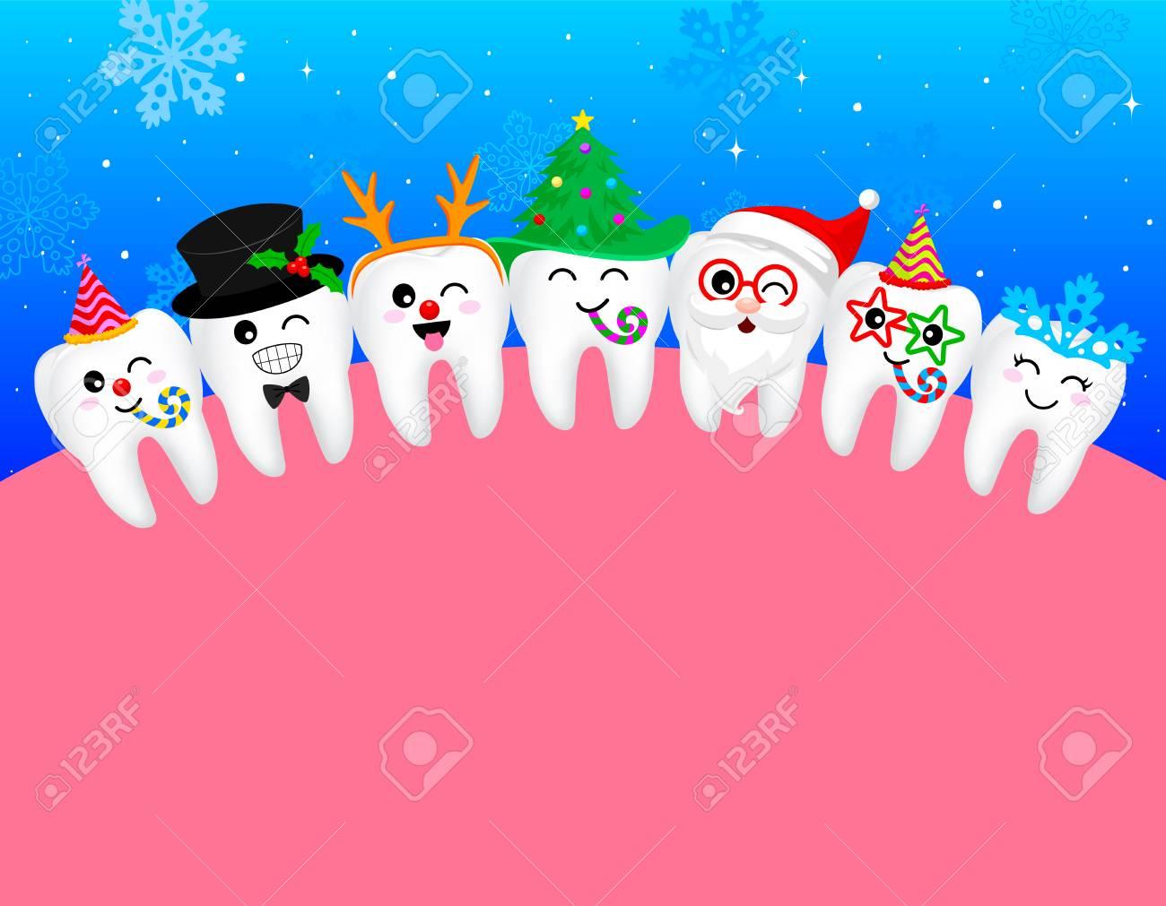 Christmas Celebration Cartoon Images.Happy Cute Cartoon Tooth Snowflake Santa Claus Xmas Tree