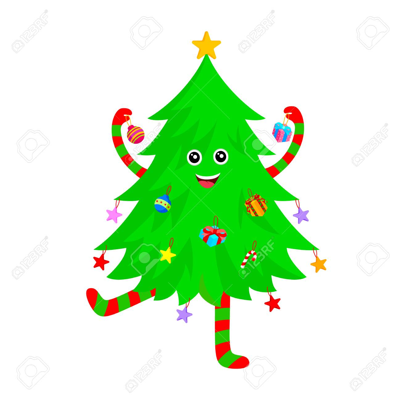 cute christmas tree cartoon characters design merry christmas and happy new year vector illustration