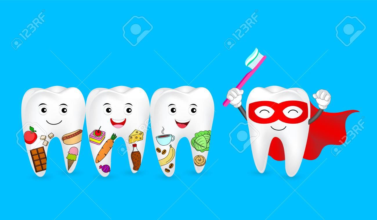 Dente Engracado Dos Desenhos Animados Segurando A Escova De Dentes