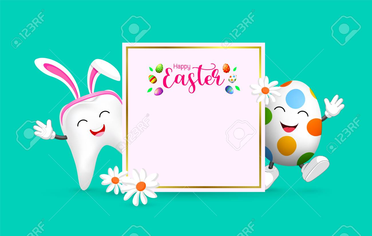 Easter Banner Background Template With Bunny Tooth And Egg Character