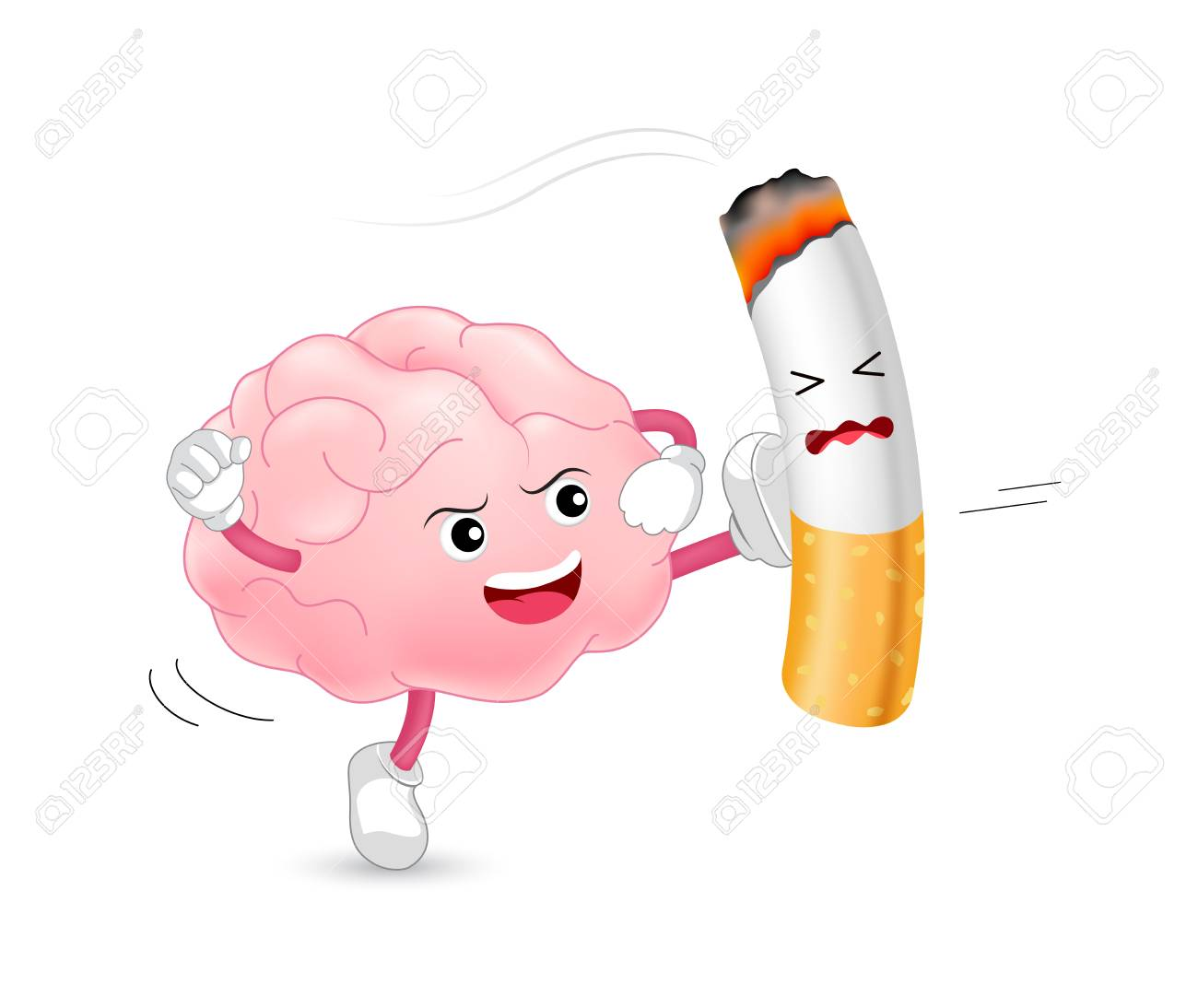 Brain Character Attacking The Cigarette. Smoking Is Harmful To.. Royalty  Free Cliparts, Vectors, And Stock Illustration. Image 115166042.