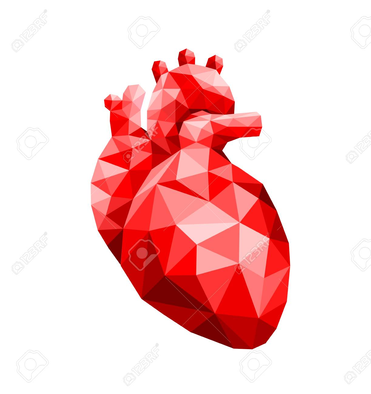 Polygonal Art Of Human Heart Design Faceted Low Poly Geometry