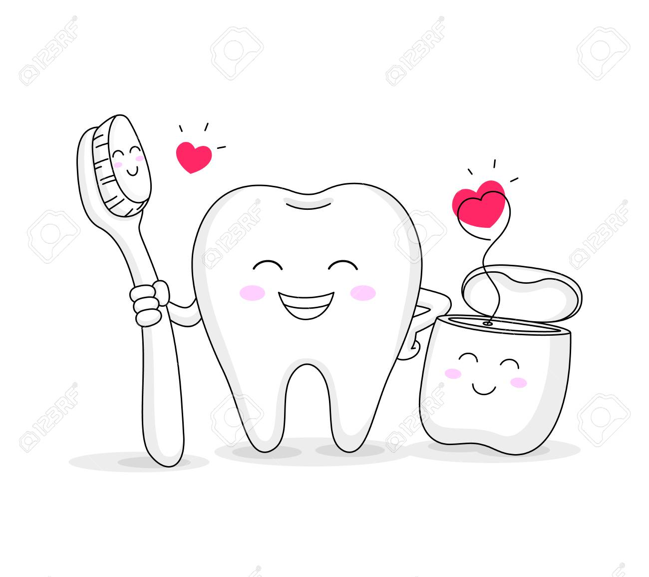 Cute Cartoon Tooth Character With Toothbrush And Dental Floss Royalty Free Cliparts Vectors And Stock Illustration Image 110106067