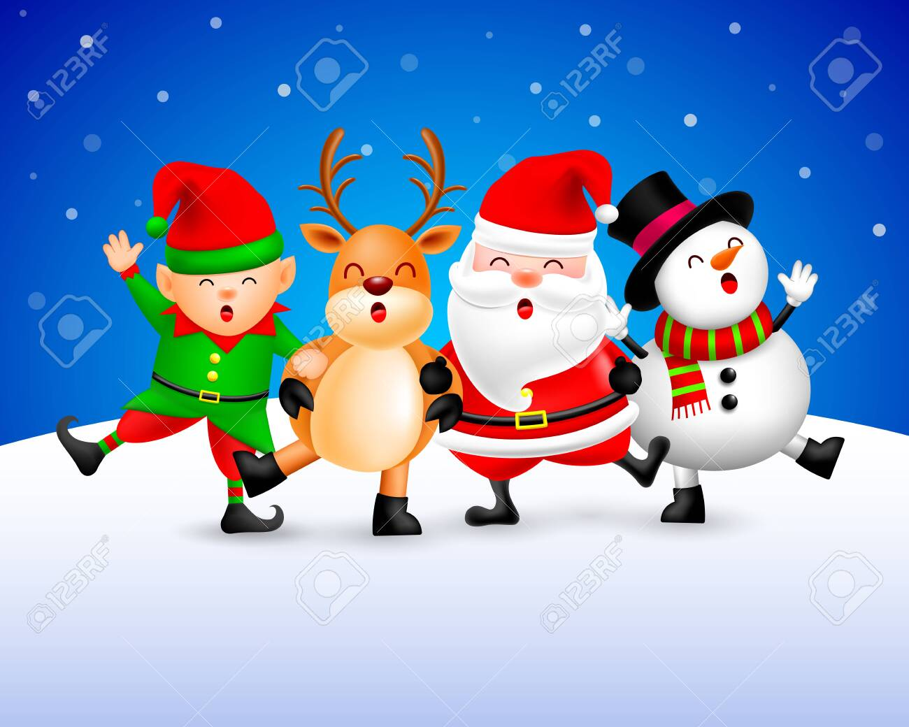 Funny Christmas Picture.Funny Christmas Characters Design On Snow Background Santa Claus