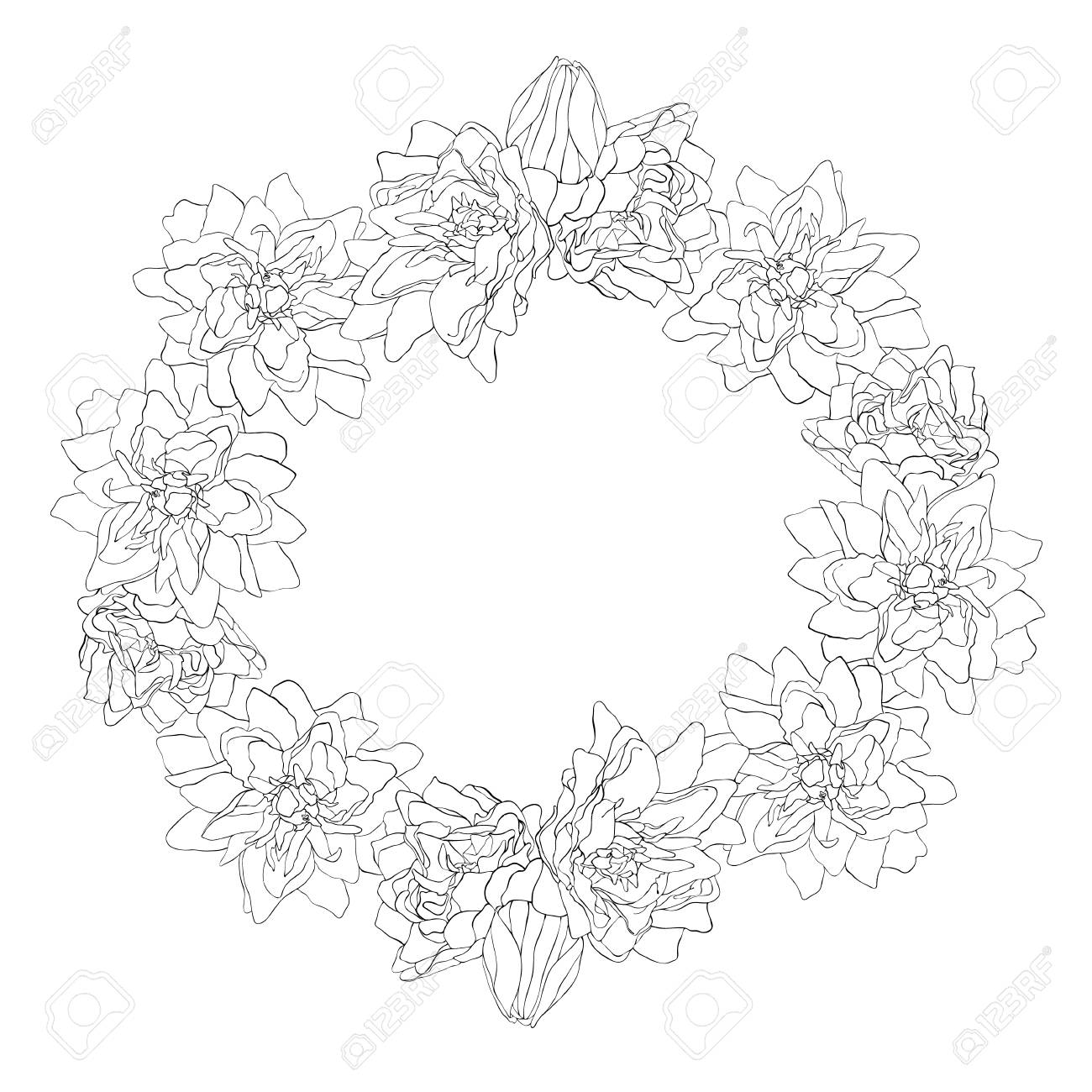 Beautiful monochrome sketch, black and white flower. Circle shape. Vector illustration isolated on white background. - 125092198