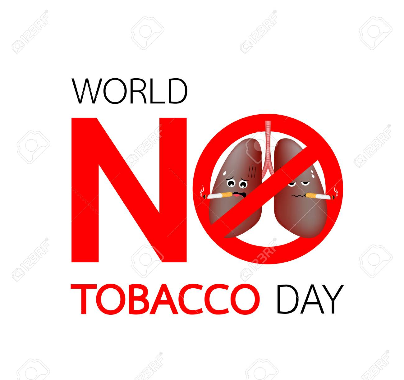 World No Tobacco Design With Lung Character Stop Smoking Concept Royalty Free Cliparts Vectors And Stock Illustration Image 126326584