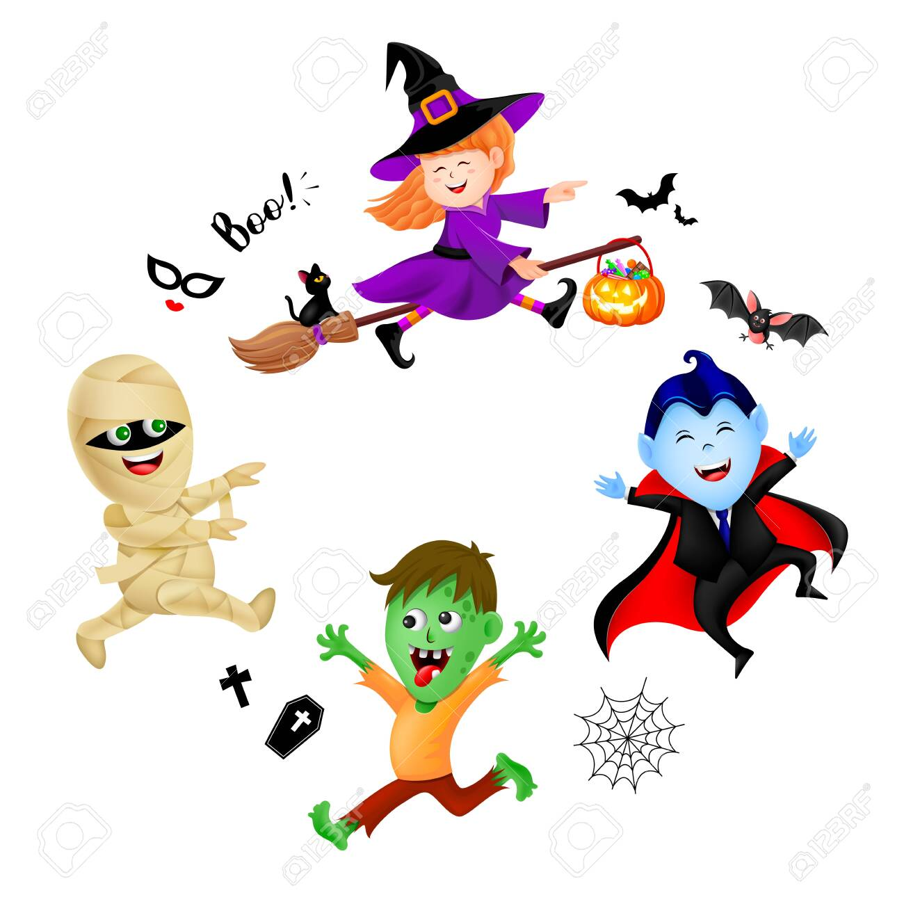 Halloween cartoon set with cute kids in holiday costumes witch,..