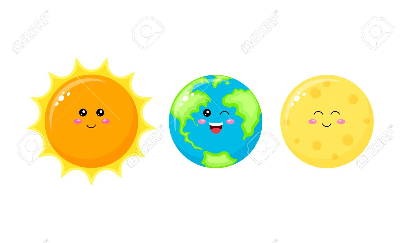Collection of cute cartoon character. Sun, Earth and Moon. Vector illustration isolated on white background. - 143176012