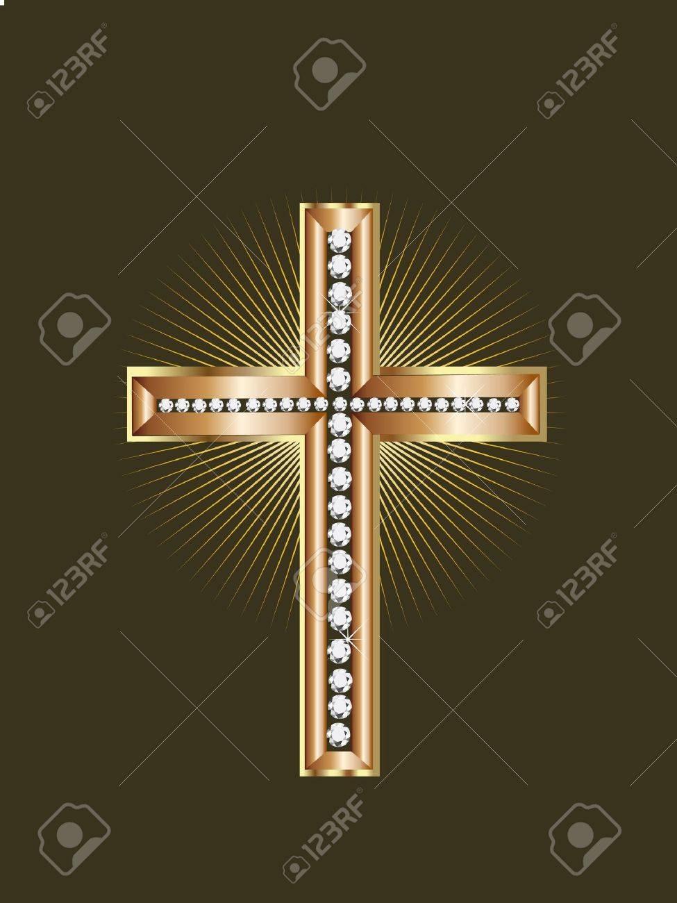 Gold Jewelry Cross Stock Vector - 10346174