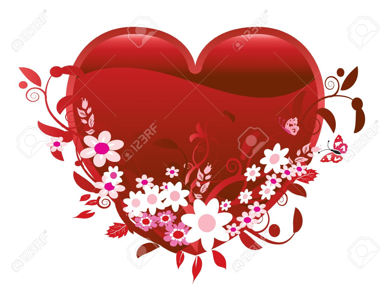 Heart and flowers Valentine Stock Vector - 10599197