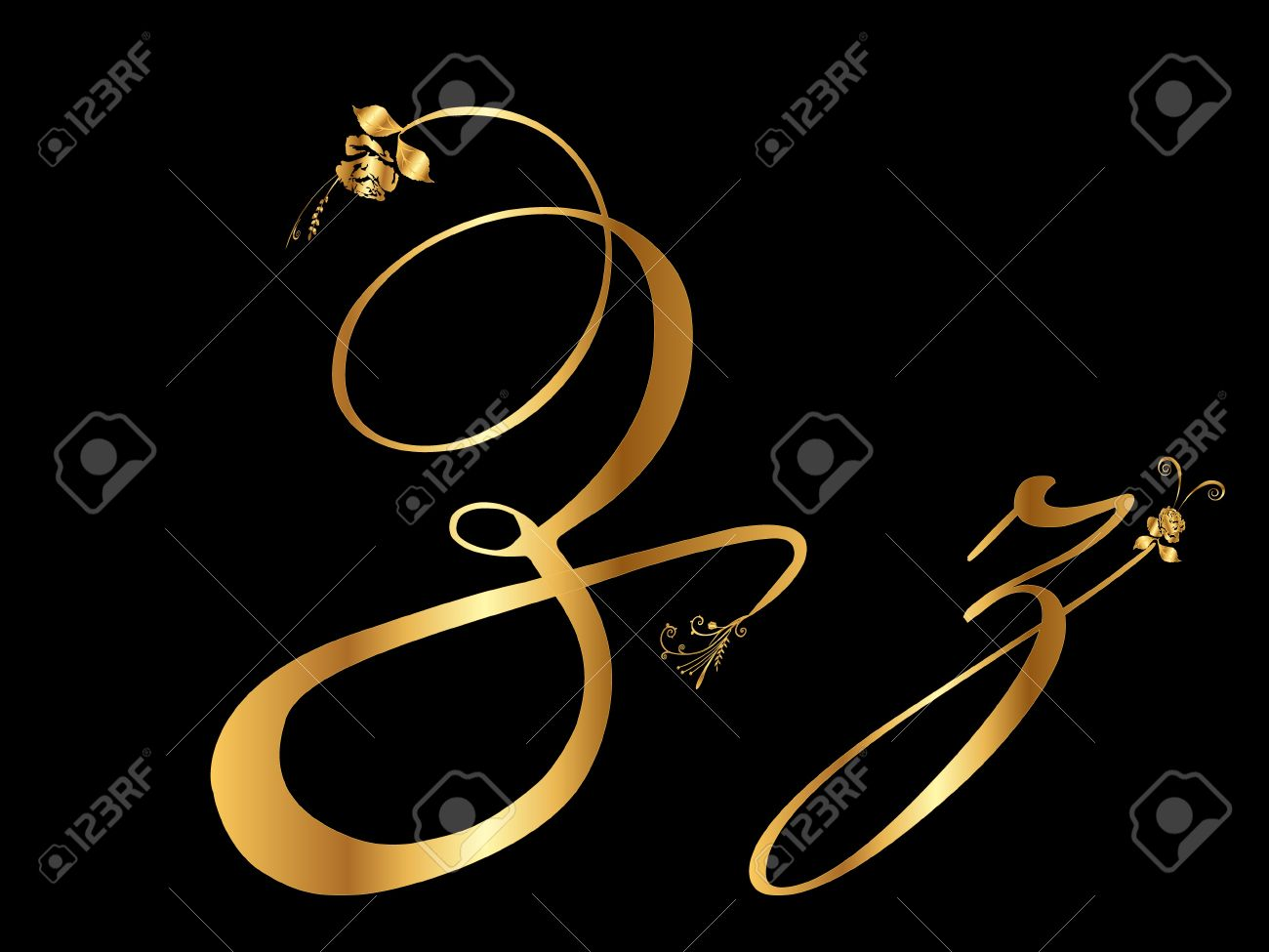 Golden letter Z with roses Stock Vector - 10599199