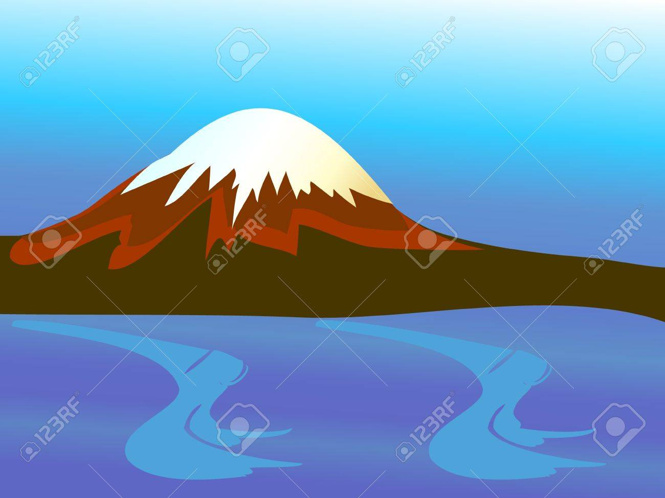 Mountain with peak and blue ocean Stock Vector - 10599202