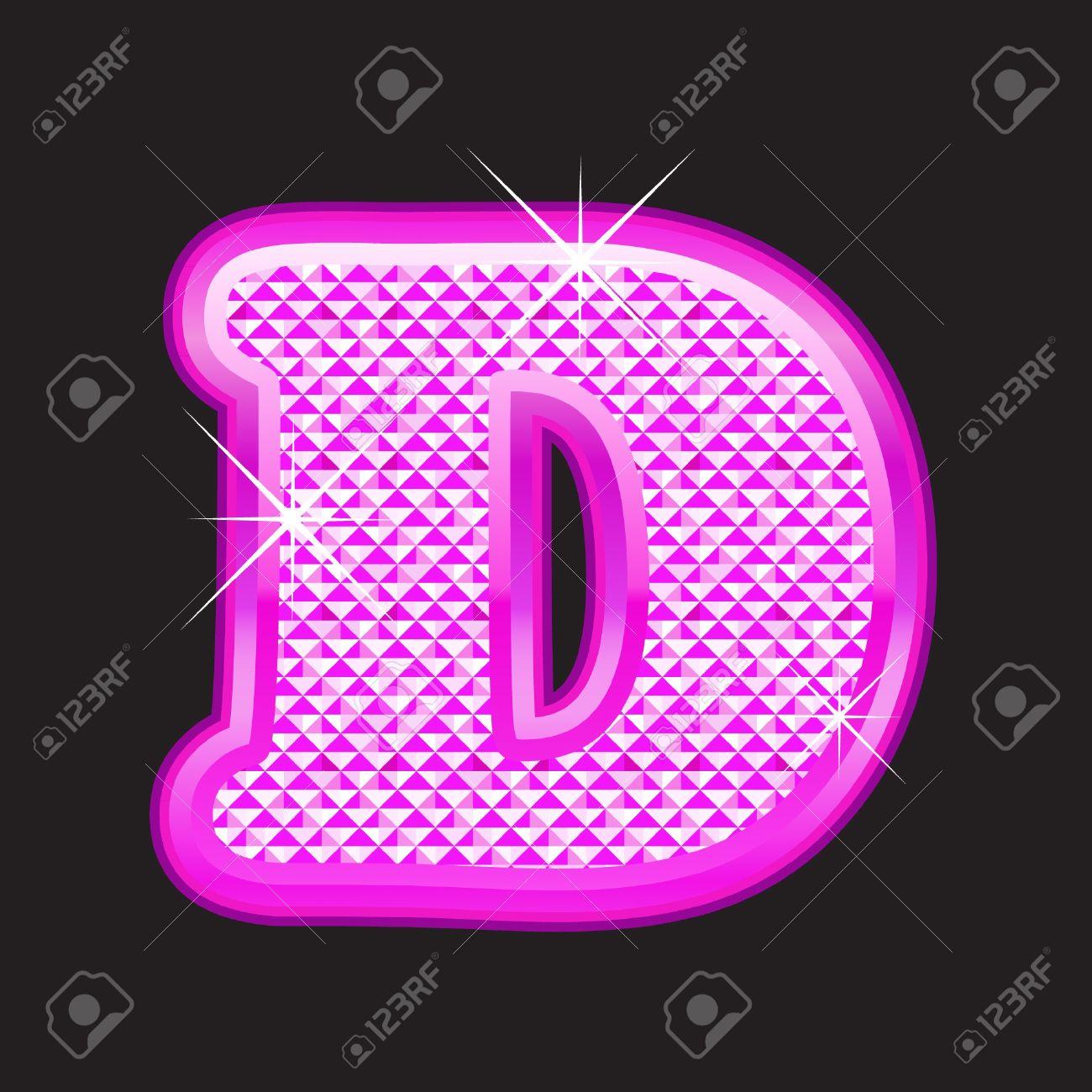 D letter pink bling girly Stock Vector - 10656728