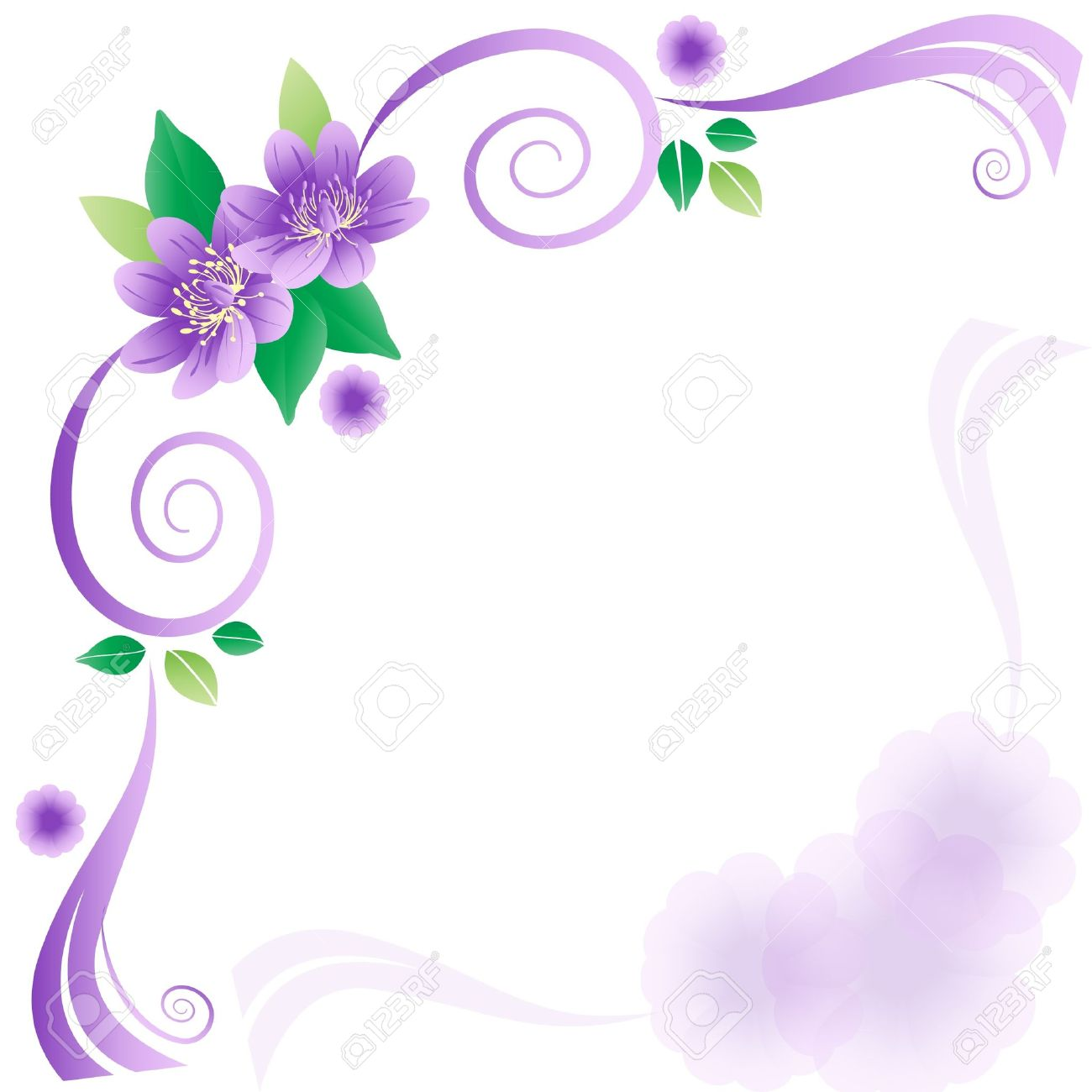 Wedding Card With Lavender Flowers Royalty Free Cliparts Vectors
