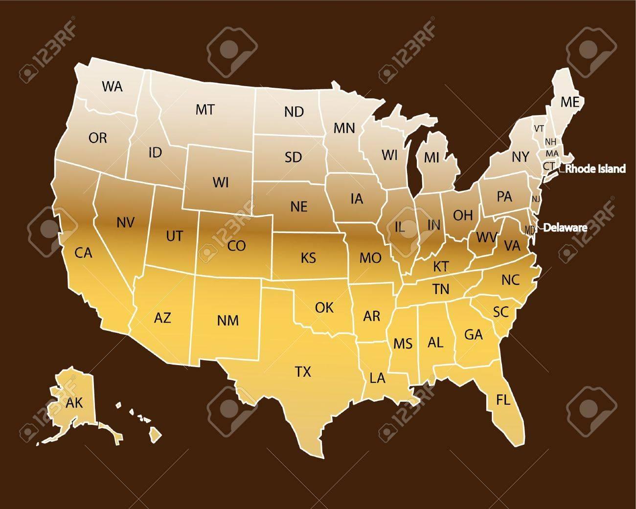 USA Map Gold Stock Vector - 10731750