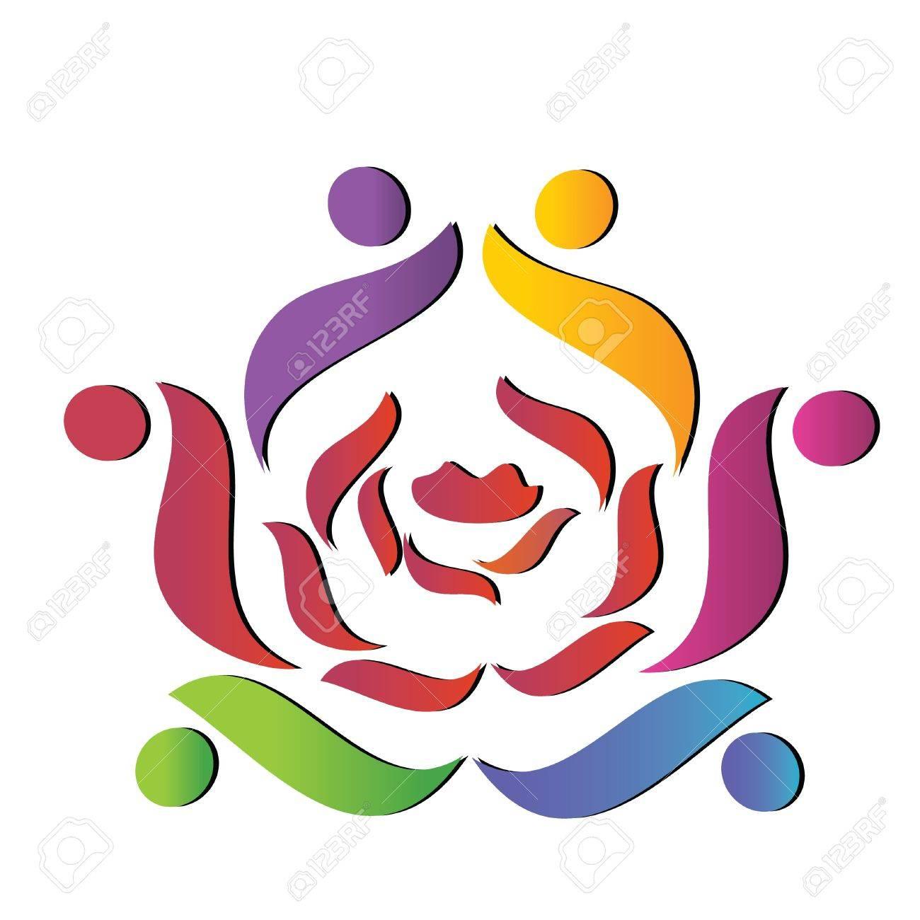 Team helping rose logo Stock Vector - 10821235