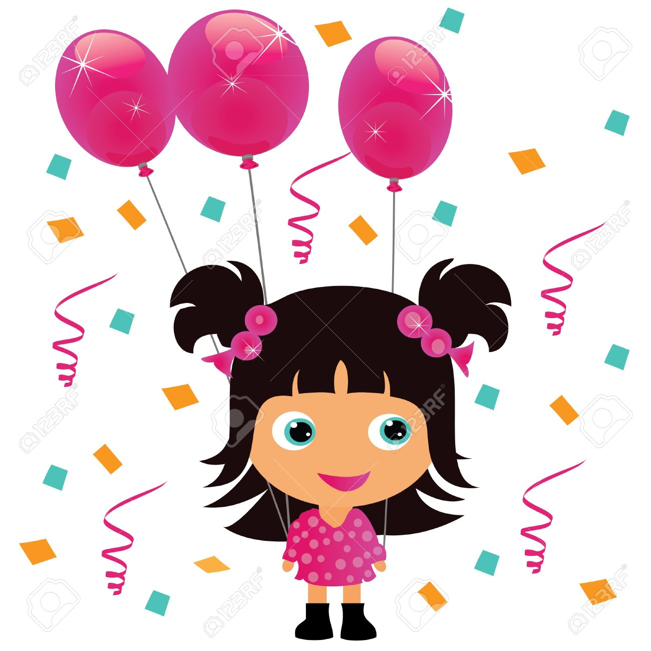 girl birthday Little Girl With Pink Balloon Birthday Party Royalty Free Cliparts  girl birthday