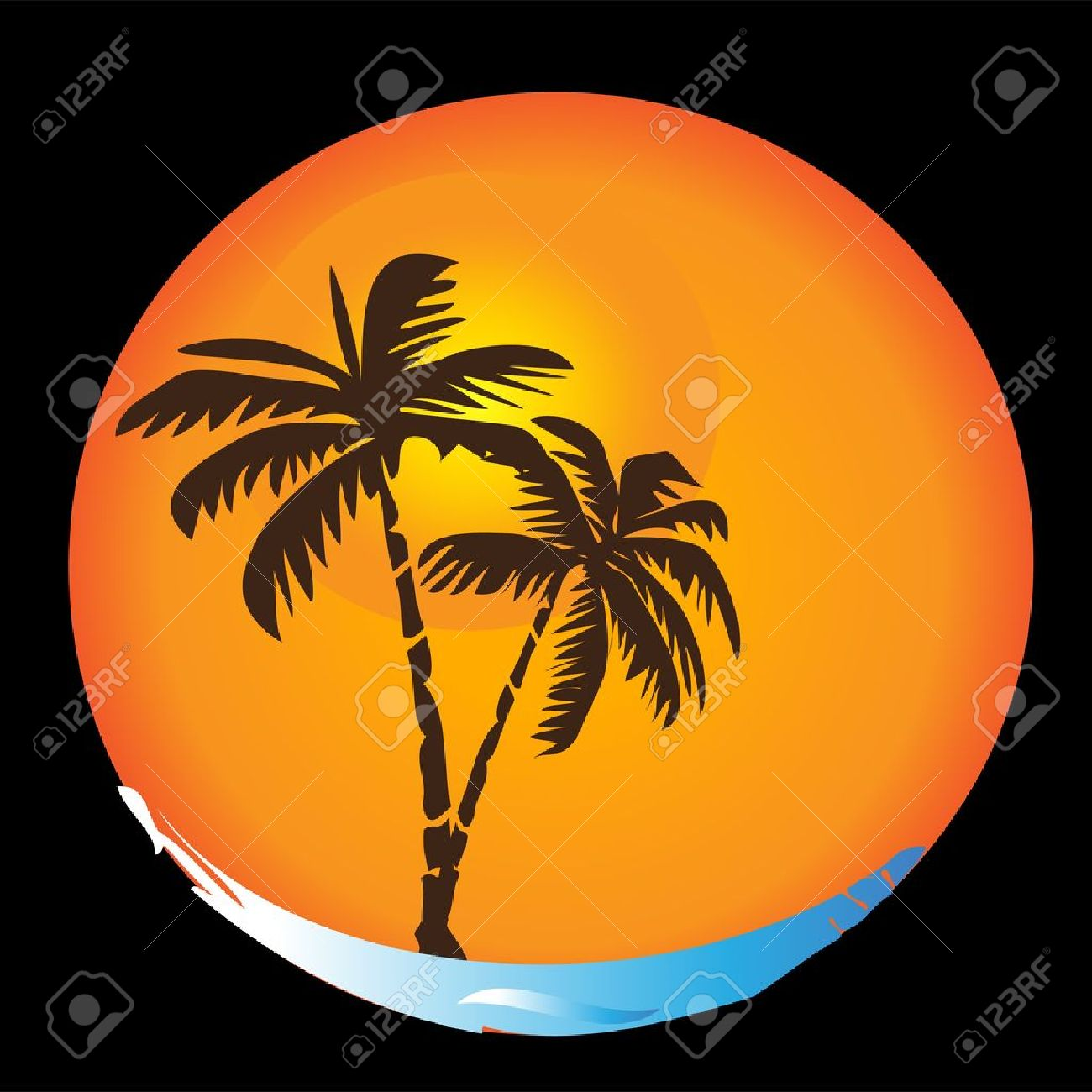 Tropical sun beaches palms apt logo Stock Vector - 10893597