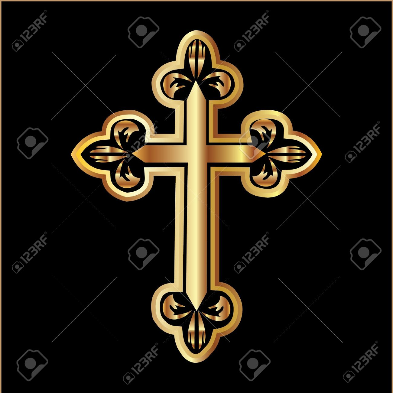 Gold christianity cross Stock Vector - 10959342