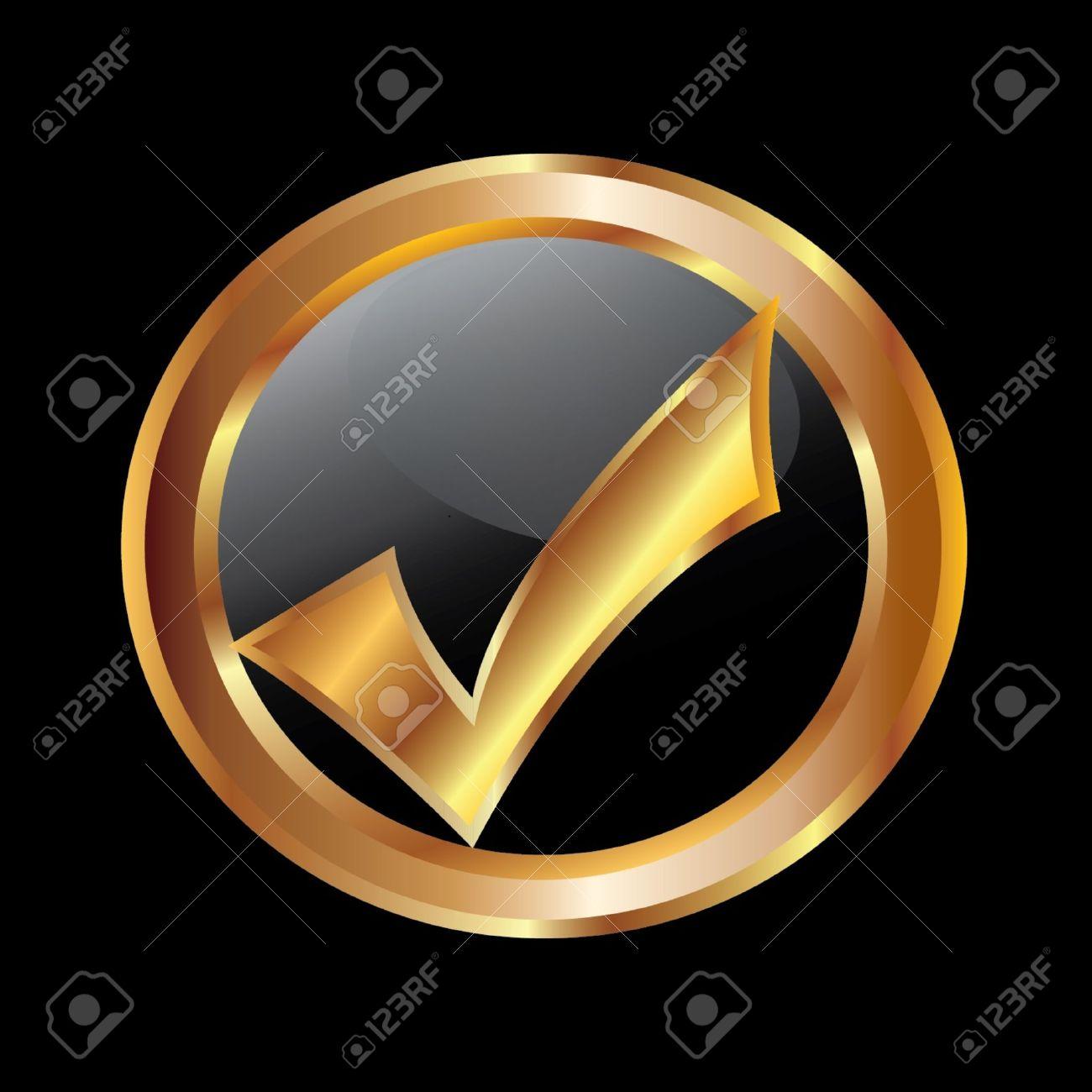 Check mark gold icon Stock Vector - 10959341