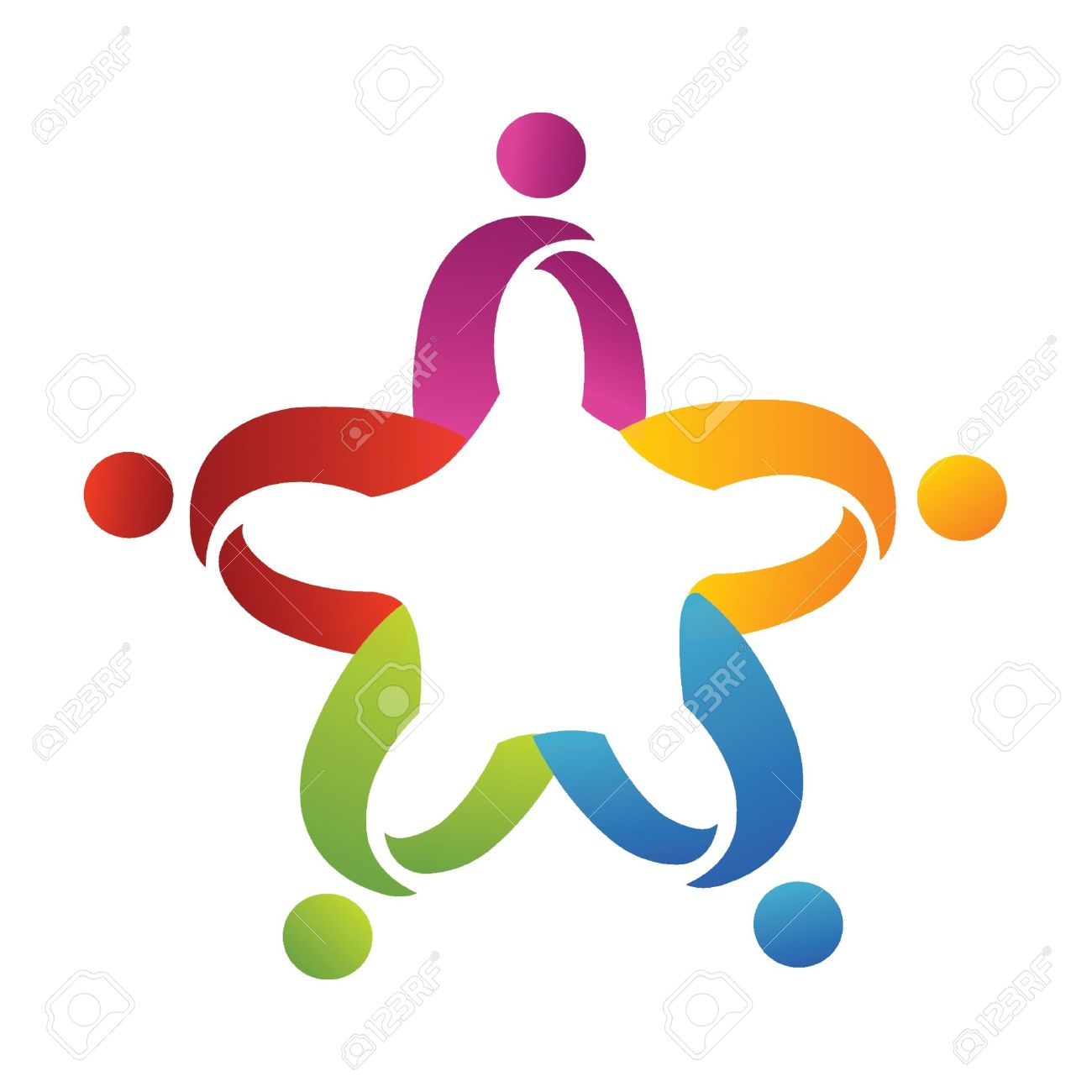 Teamwork abstract people helping logo Stock Vector - 11020790