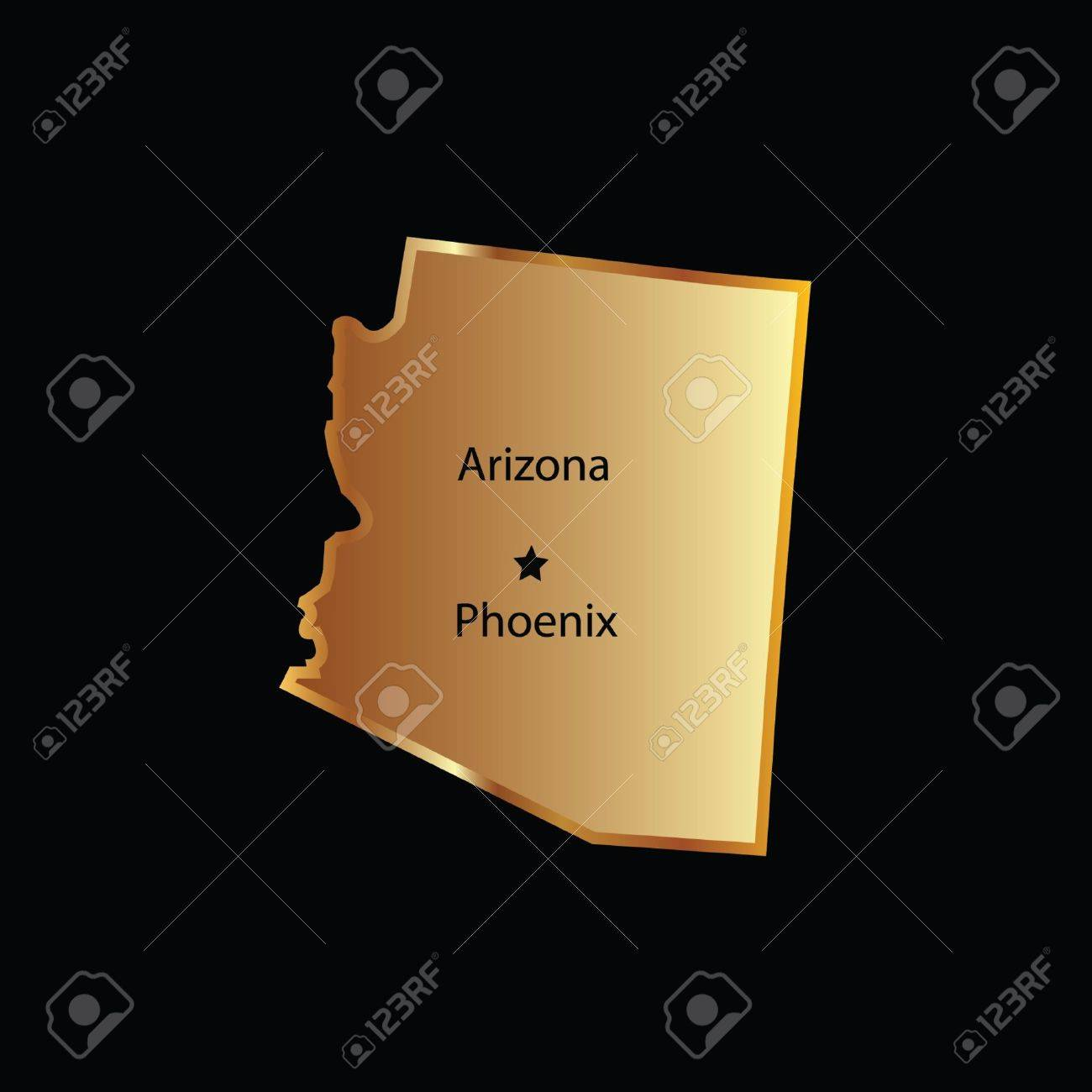 Gold Arizona State Map With Capital Name Royalty Free Cliparts - Arizona state map