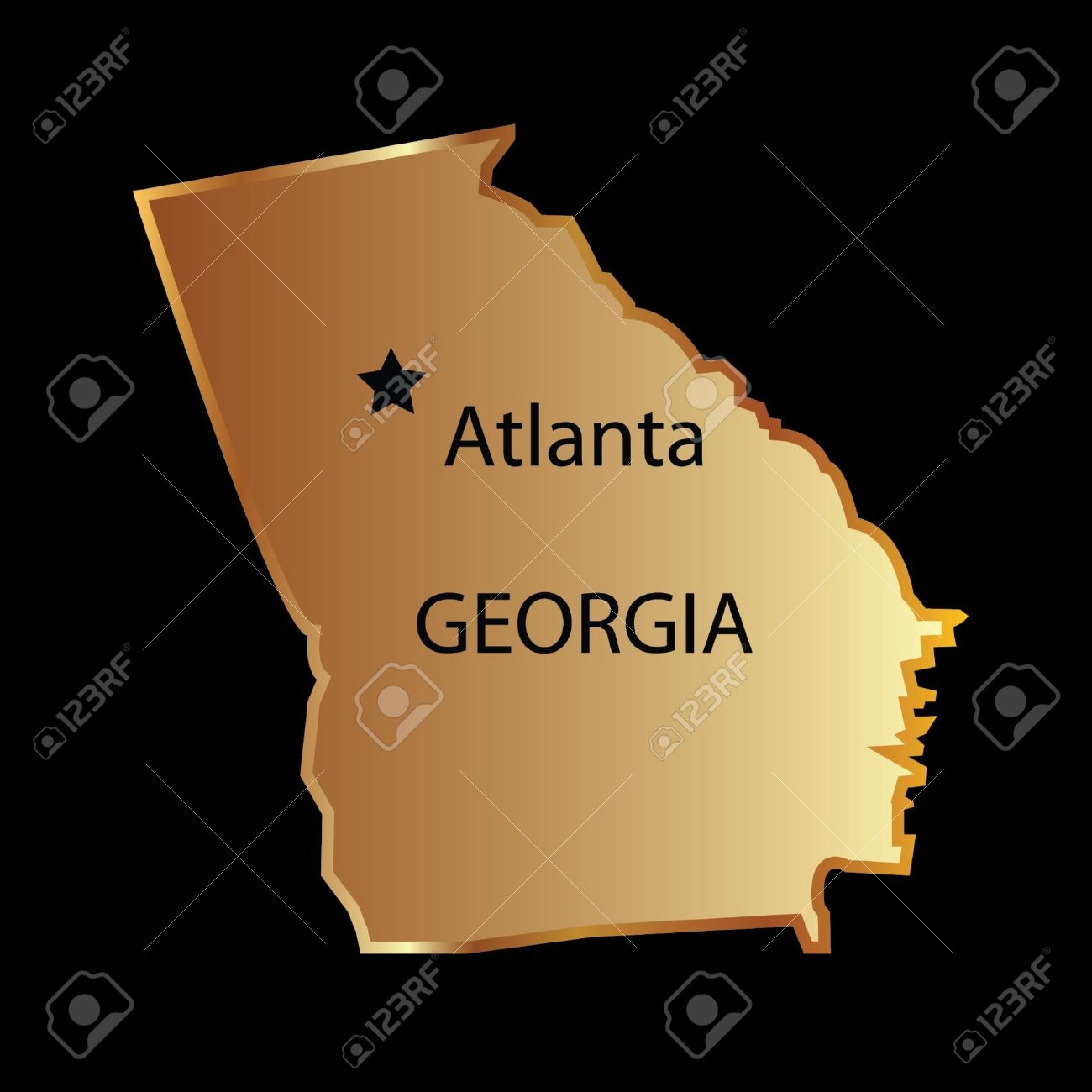 Map Of Georgia With Capital.Gold Georgia State Map With Capital Name