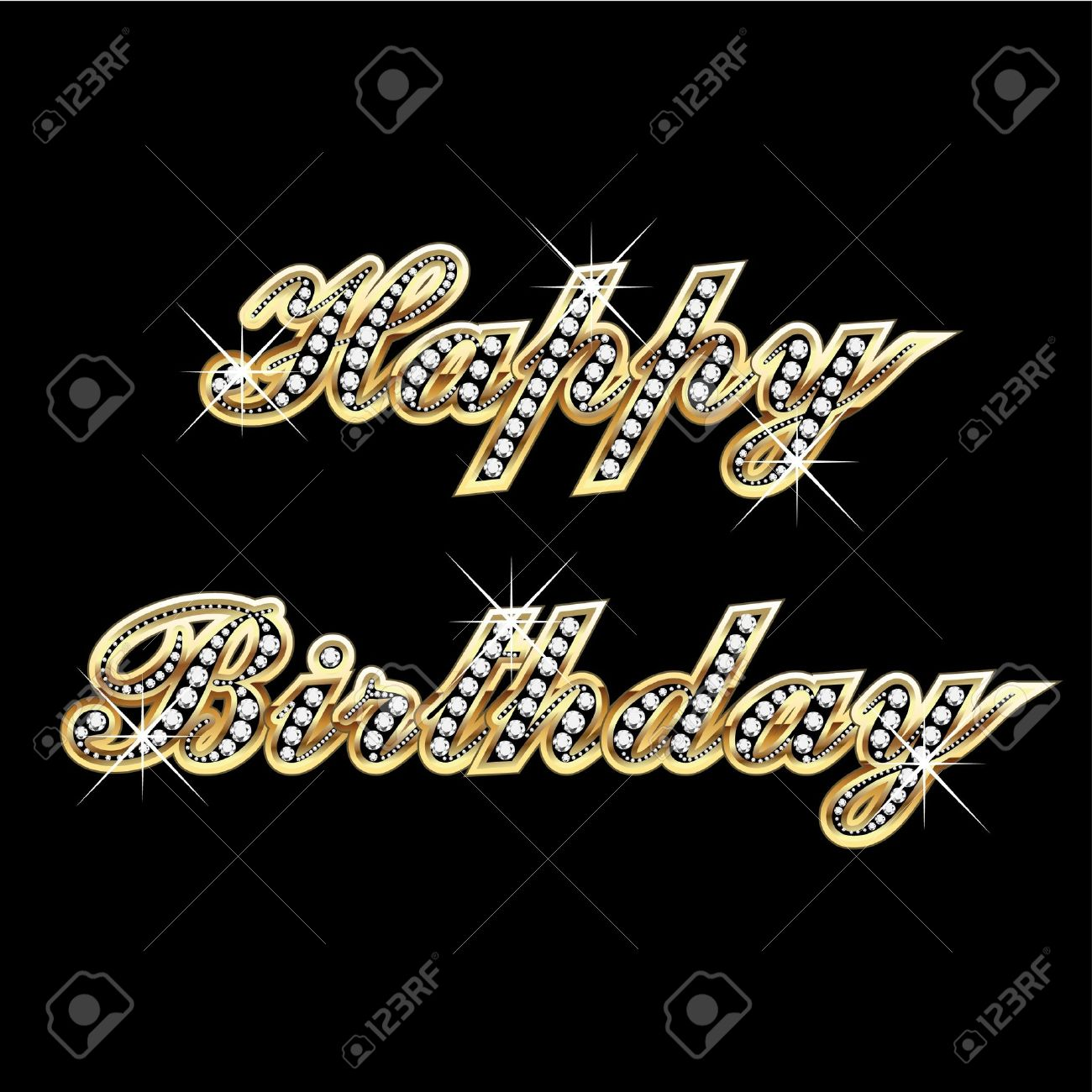 happy birthday bling Happy Birthday In Gold With Diamonds And Bling Bling Royalty Free  happy birthday bling