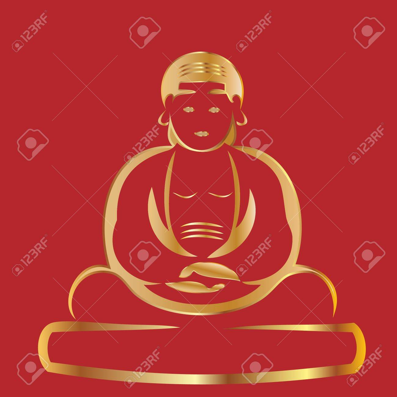 Buddha with red background Stock Vector - 11500493