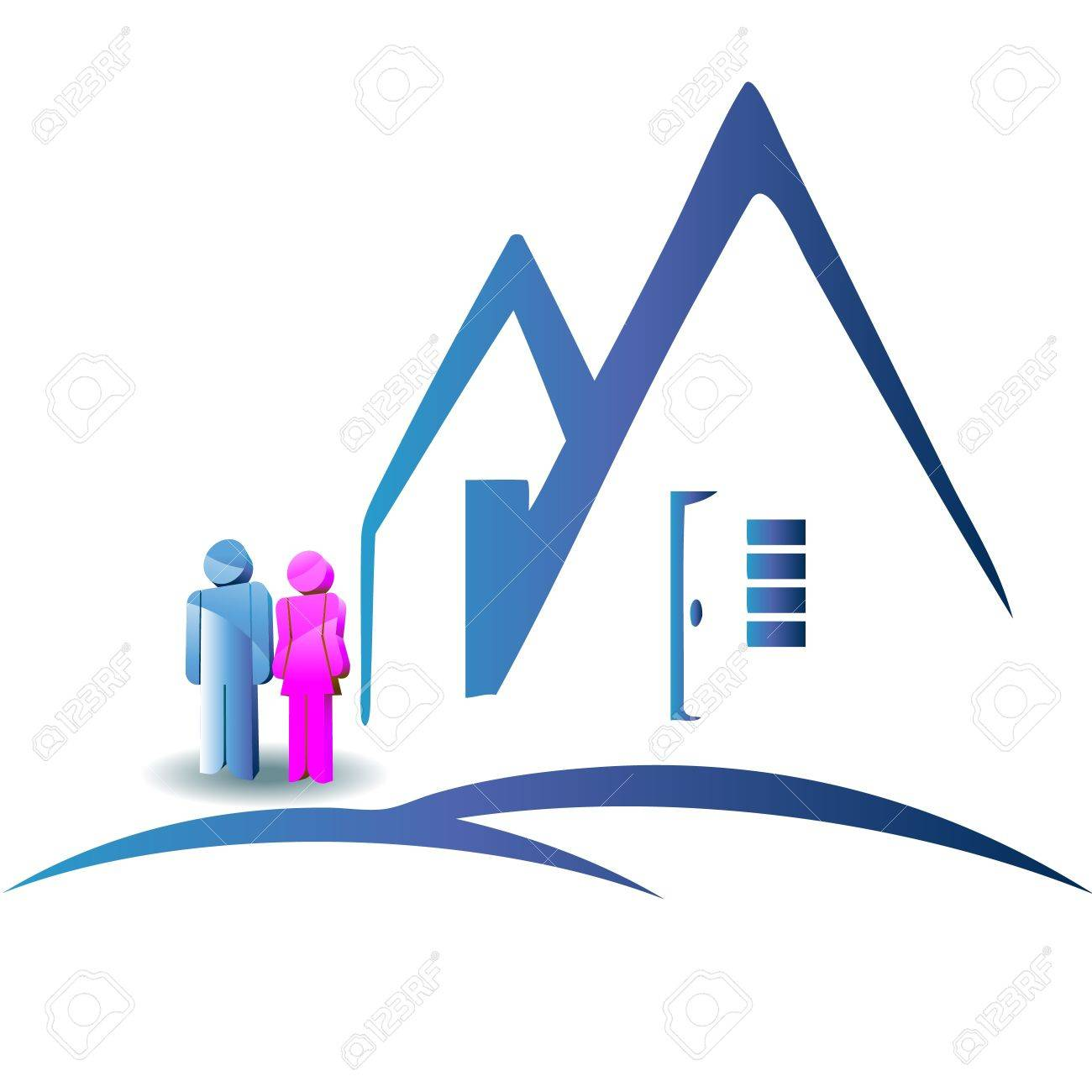Couple with a new house logo Stock Vector - 12011014