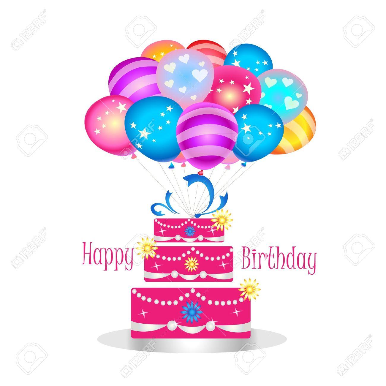 Happy birthday cake with balloons Stock Vector - 12075153