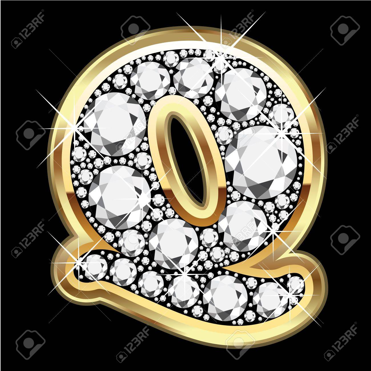 Q gold and diamond bling Stock Vector - 12379676
