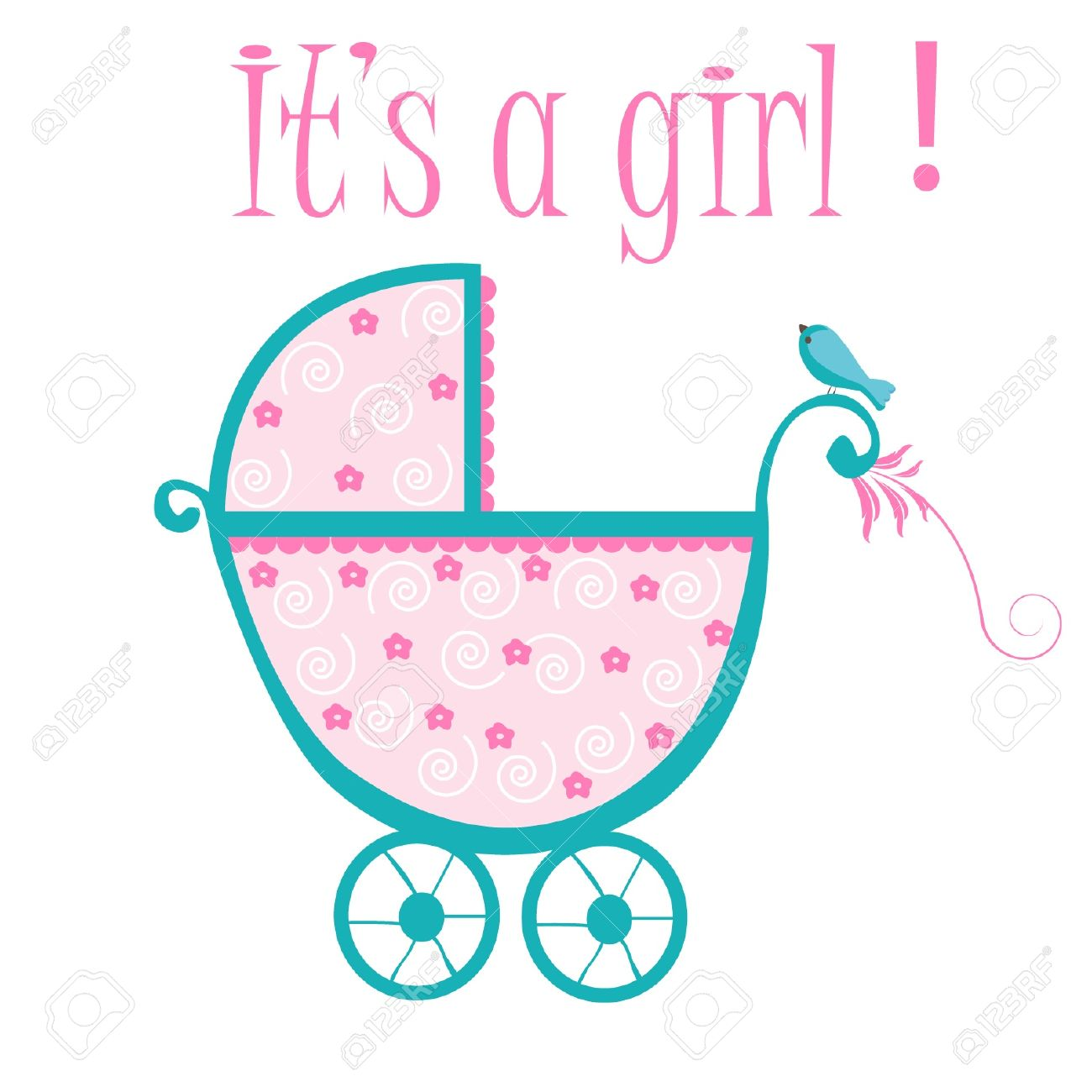 Baby Crib Card To Welcome To New Baby Girl Royalty Free Cliparts Vectors And Stock Illustration Image 12379686