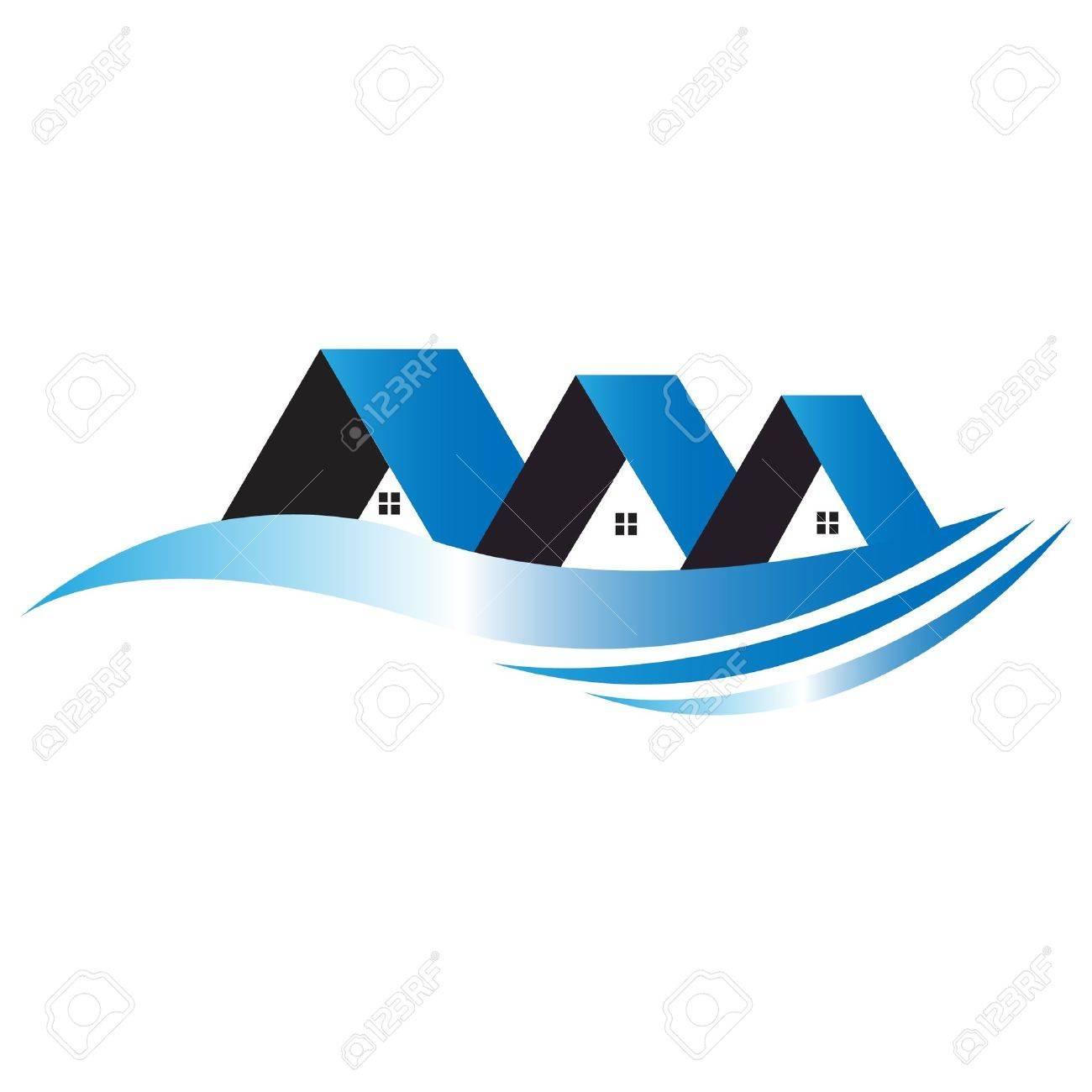 casas logotipo azul foto de archivo