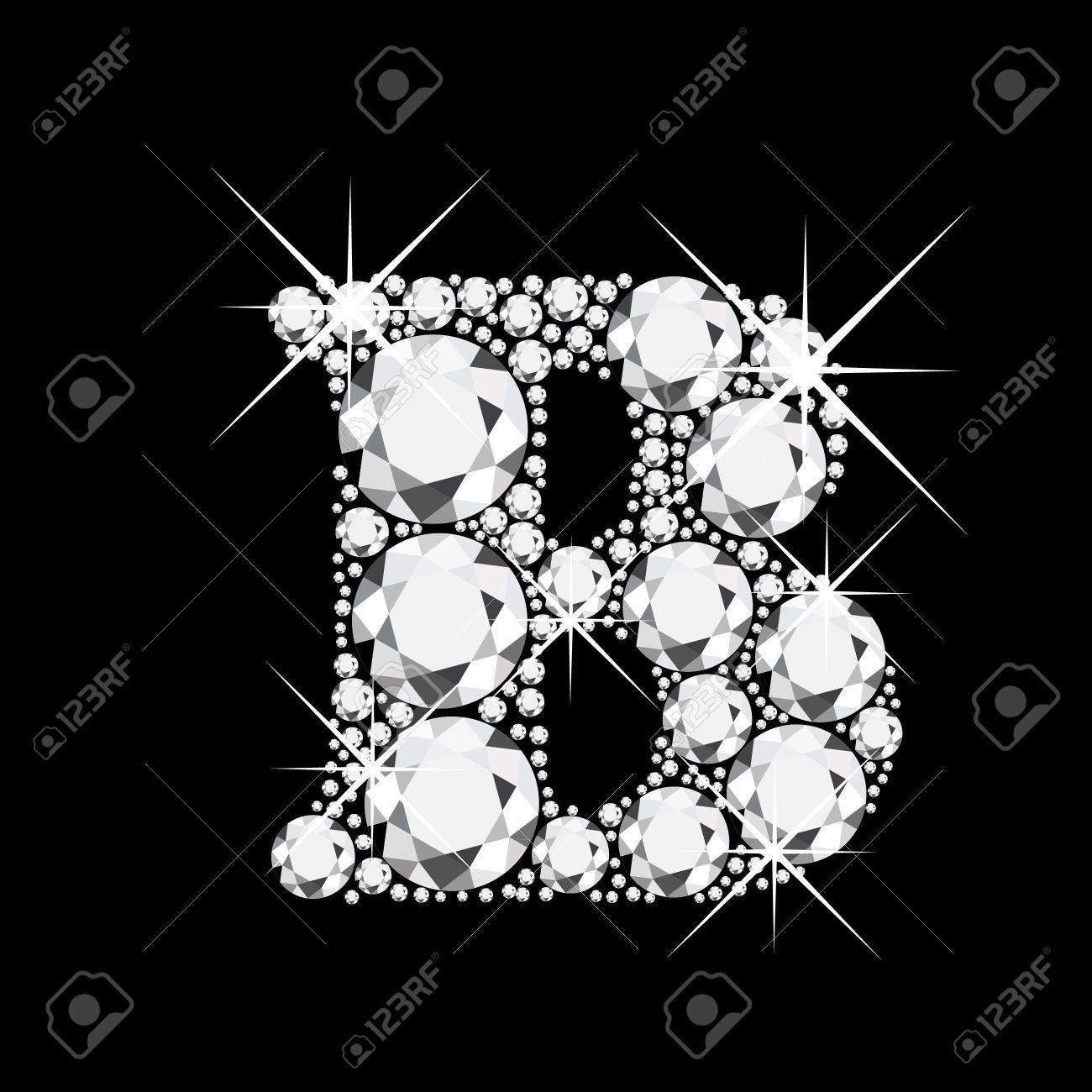B Letter In Diamond B letter with diamonds bling