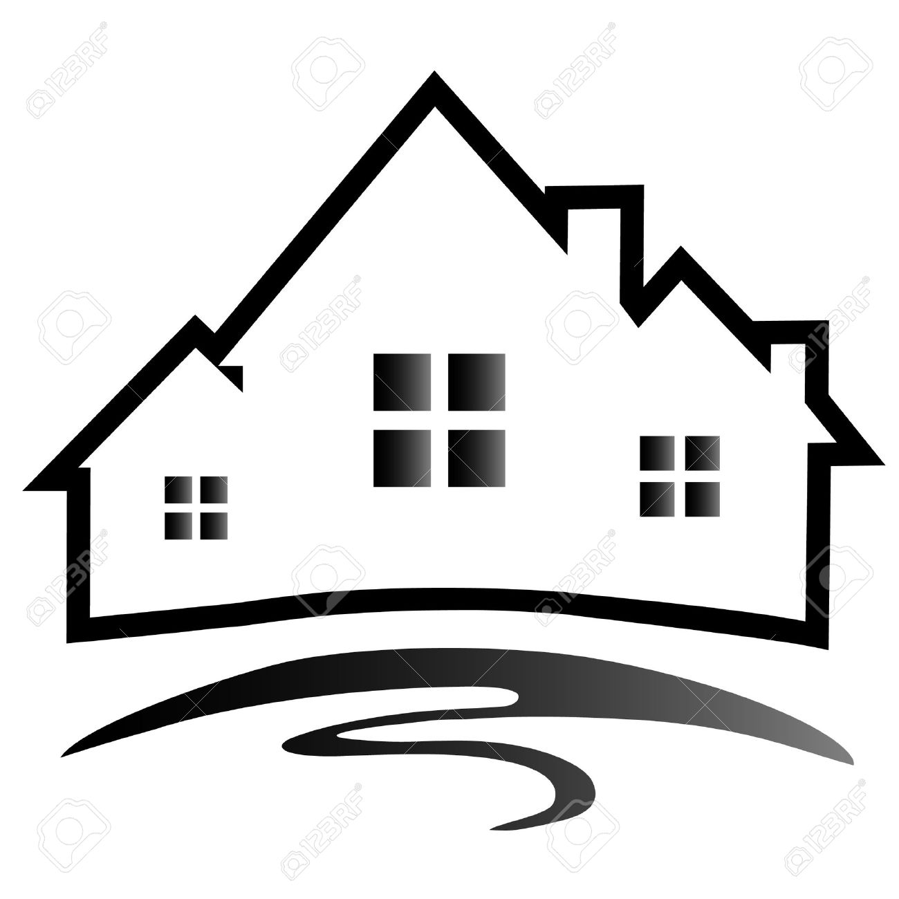 houses silhouette logo royalty free cliparts vectors and stock rh 123rf com haunted house silhouette vector house silhouette vector png
